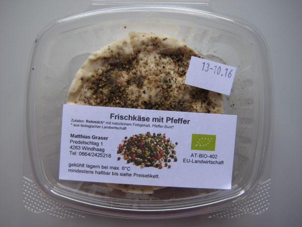 Frischkäse mit Pfeffer